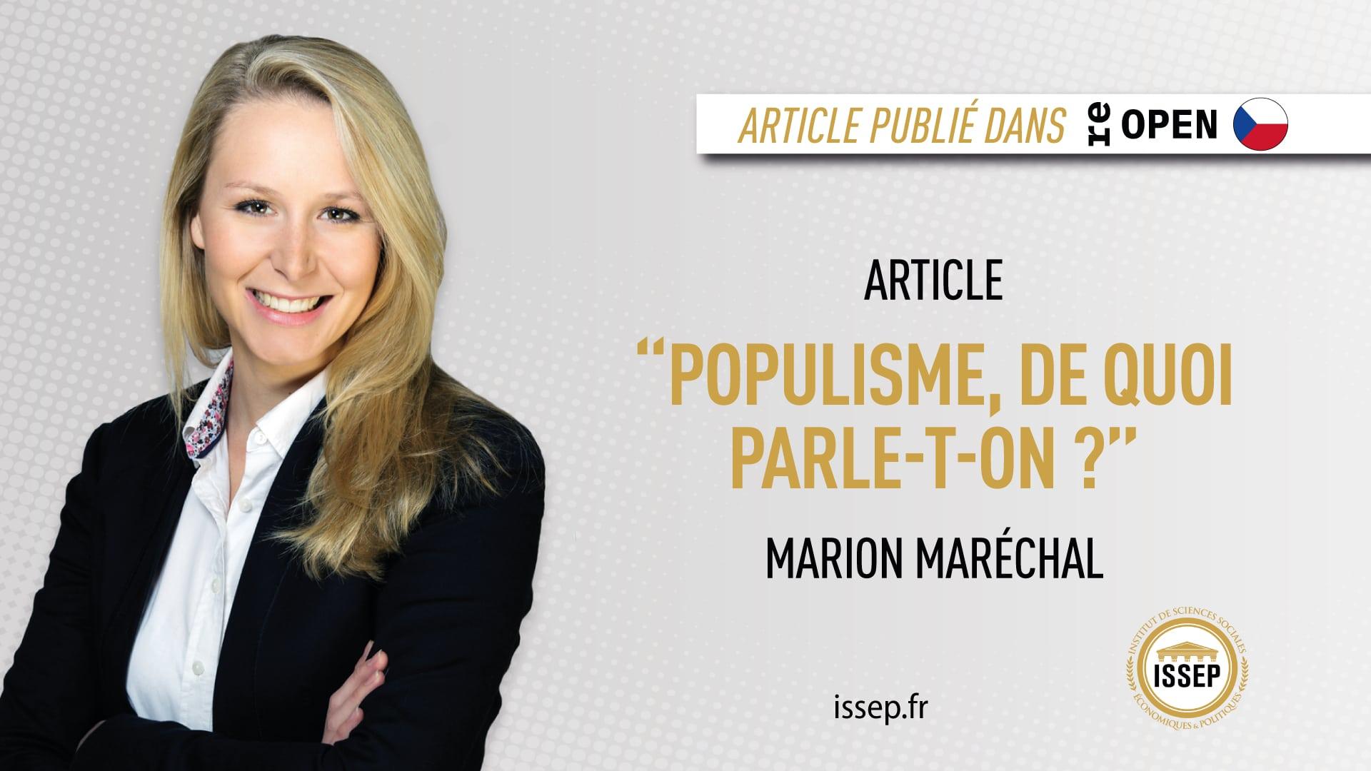 Visuel article Marion Maréchal - média tcheque - populisme