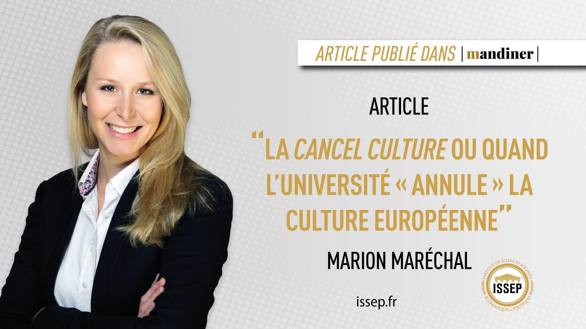 Article de Marion Maréchal paru dans le journal hongrois Mandiner au sujet de la cancel culture